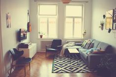 Living room - grey couch and ikea rug.
