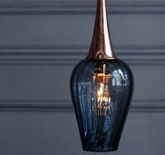 Hand blown glass Retro Pendant in grey optic glass with copper fitting by Rothschild & Bickers
