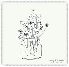 0번째 이미지 Diy Embroidery Patterns, Embroidery Art, Cross Stitch Embroidery, Beautiful Easy Drawings, Simple Line Drawings, Wildflower Drawing, Hand Drawn Flowers, Flower Doodles, Needlework