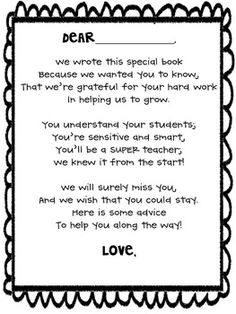 Student Teacher Goodbye Gift  I Teach K    Teacher