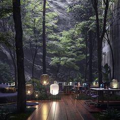 Design Exterior, Interior And Exterior, Modern Interior, Sustainable Architecture, Interior Architecture, Interior Design Games, Restaurant Design, Forest Restaurant, Landscape Design