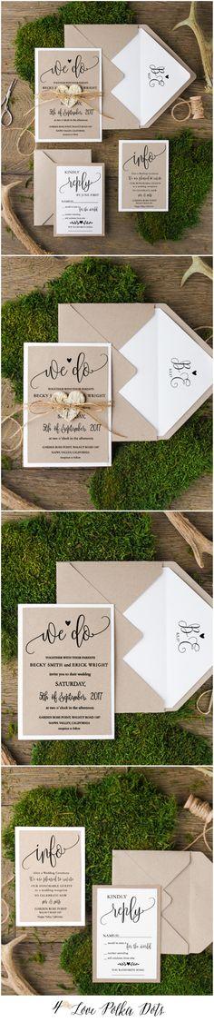 We Do ! Rustic Eco Wedding Invitations #romantic #ecofriendly #rustic #eco #greenery #greenerywedding #weddingideas #rusticweddingideas #calligraphy