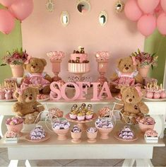 Cute Dessert Table for Baby (girl) Shower Shower Party, Baby Shower Parties, Baby Shower Themes, Baby Shower Decorations, Baby Shower Gifts, Shower Ideas, Mesa Dulces Baby Shower, Deco Buffet, Teddy Bear Baby Shower