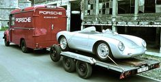 in Belgium: Porsche with Opel Blitz Transporter Porsche 550, Porsche Autos, Porsche 356 Speedster, Porsche Models, Porsche Classic, Classic Cars, Le Mans, Porche Car, Nascar