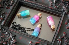 Glitter Bottles Necklaces  Rainbow Necklaces  Pastel by Taypop