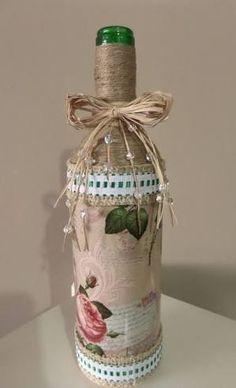 Resultado de imagem para Garrafa decorada vintage