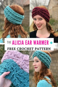 New Free of Charge Crochet headband pattern Suggestions Free crochet ear warmer pattern: the Alicia ear warmer! An easy crochet headband pattern for free! Easy Crochet Headbands, Crochet Gifts, Crochet Baby, Knit Crochet, Things To Crochet, Crochet Hairband, Crochet Hat For Women, Crochet Winter, Crocheted Hats