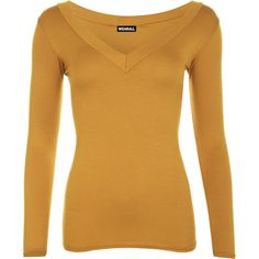 Sophia V Neck Long Sleeve Top (485 UYU) ❤ liked on Polyvore featuring tops, mustard, mustard yellow top, form fitting tops, brown tops, viscose tops and v neck tops