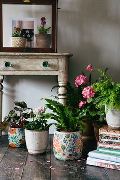 Bring the outdoors inside with a selection of bright potted plants. Cluster together for a real green feeling a la Lobster and Swan.