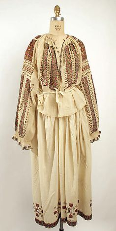 Cotton dress with silk embroidery (without embroidered silk and wool tasseled apron), Romanian, C. Origin Clothing, Folk Clothing, Historical Costume, Historical Clothing, European Costumes, Costume Institute, Folk Costume, Embroidered Silk, Fashion History