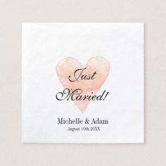 Personalized elegant coral heart wedding napkins