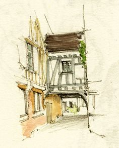 https://flic.kr/p/8VNtpH | Noyers-sur-Serein, Yonne, France | 2010 little sketches in preparation for a watercolor