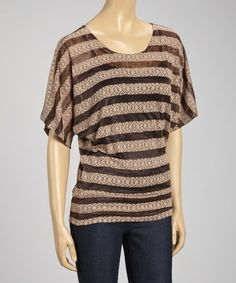 Look what I found on #zulily! Brown Stripe Tribal Dolman Top - Women #zulilyfinds