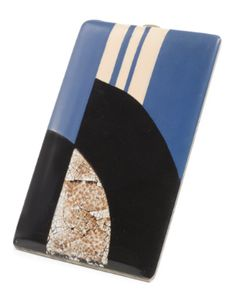 Paul Brandt cigarette case. Electro-plated metal, eggshell and lacquer, circa 1920s.