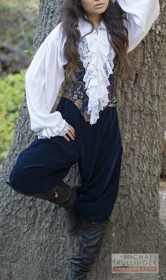 Brocade Bodice with Velvet Pants and Cofresi Shirt Pirate Outfit