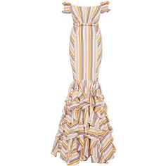 Caroline Constas Thea Off The Shoulder Stripe Gown ($1,950) ❤ liked on Polyvore featuring dresses, gowns, pink evening gowns, pink ball gown, floor length gowns, floor length evening gowns and pink evening dresses