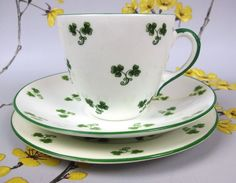 Antique SHELLEY china Shamrock tea trio: cup, saucer & plate. c 1910 England.