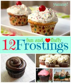 12 Fluffy Frostings For Cakes, Cupcakes, and Frosting Shots! Icing Recipe, Frosting Recipes, Cupcake Recipes, Cupcake Cakes, Cupcake Ideas, Cup Cakes, Sweets Recipes, No Bake Desserts, Just Desserts