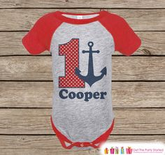 Boy's Birthday Outfit - Nautical Birthday Shirt - Onepiece or Tshirt - First…