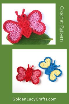 Learn how to make this beautiful heart-shaped crochet butterfly applique! Free pattern, easy crochet project, perfect for any embellishment or scrapbooking Crochet Butterfly, Crochet Triangle, Crochet Circles, Easy Crochet Projects, Crochet Crafts, Free Crochet, Crochet Ideas, Crochet Motif Patterns, Crochet Designs