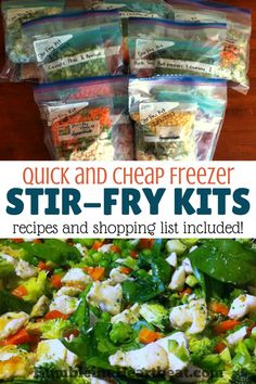 healthy meals food recipes diiner cooking Save time and money by making these freezer stir-fry kits. Theres nothing like having a healthy meal just waiting in the freezer on an insanely busy day! Freezer Friendly Meals, Budget Freezer Meals, Make Ahead Freezer Meals, Freezer Cooking, Frugal Meals, Easy Meals, Budget Recipes, Inexpensive Meals, Freezer Recipes