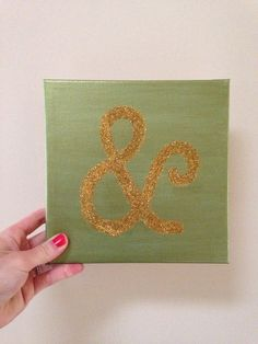 Peridot and Gold Hand painted ampersand canvas  on Etsy, $23.00