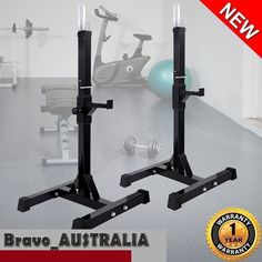 2 x Squat Racks Bench Press Stand Fitness Weight Training Gym Adjustable Height