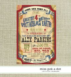 Digital Download: vintage carnival or circus party invitation