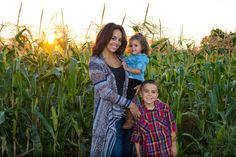 Fall Photo shoot in a corn field at sunset.