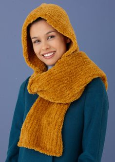 Free Knitting Pattern L10669 Snow Bunny Hooded Scarf : Lion Brand Yarn Company