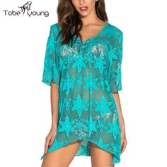 55fe90d09e Sexy Hollow Out Lace Loose See Thru Beach Bikini Swimsuit Cover Up Dress  Blouse