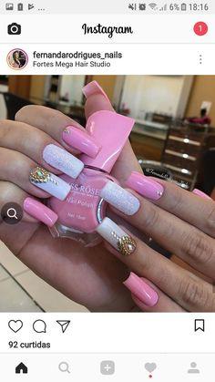 41 ideas for nails design spring bling rhinestones Sexy Nails, Trendy Nails, Fun Nails, Pink Nail Designs, Nail Designs Spring, Nails Design, Nails Studio, Bridal Nail Art, Rose Gold Nails