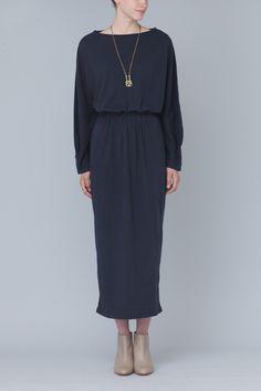 Black Crane Long Sleeve Dress (Navy)