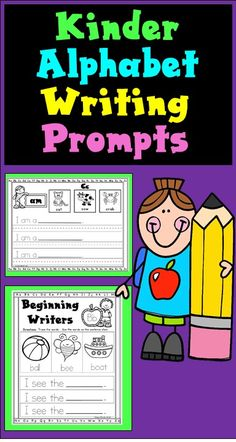 Kindergarten Alphabet Writing Prompts plus Kinder Dolch Pre-Primer Sight Words Writing Prompts is a Kindergarten Language Arts, Kindergarten Readiness, Kindergarten Writing, Teaching Writing, Kindergarten Classroom, Writing Activities, Alphabet Activities, Literacy, Writing Practice