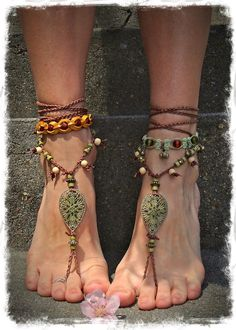 Woodland FAIRY BAREFOOT sandals Pea Green Tribal ANKLETS Gypsy
