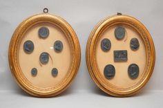 12 wax seals, framed (6 in each)