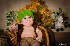 Conjunto Shrek  Touca + Colete + Bermudinha