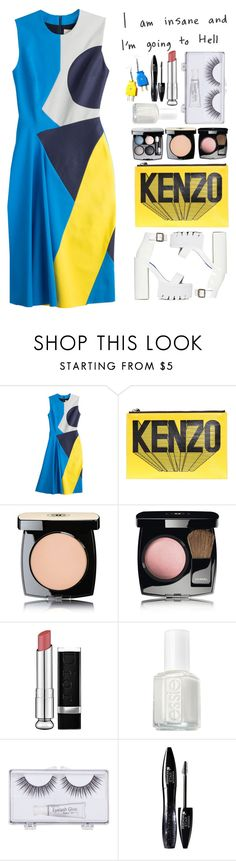 """""""Bright Blues/ Hues"""" by time-of-fever ❤ liked on Polyvore featuring Roksanda Ilincic, Kenzo, Chanel, Christian Dior, Essie, Sonia Kashuk, Lancôme, Jeffrey Campbell, yellow and blueandwhite"""