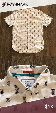 White pineapple print button down by cactus man White medium slim fit  pineapple button down by 34ff889b8