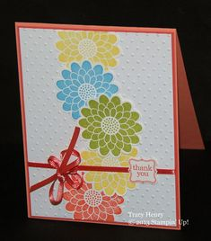 Fun colorful FLOWERS dotted thank YOU card handmade by thenry8300, $3.25