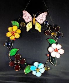 Stained Glass Butterfly Flowers Floral Spring Wreath 10 Inches $39.99 Free shipping