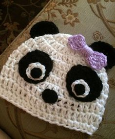 Crocheted Panda Hat Kid's Accessory by BorellesBoutique on Etsy