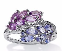 SETA JEWELRY 1.38 TCW Marquise-Cut Genuine Amethyst And Tanzanite Leaf Motif Ring In .925 Sterling Silver