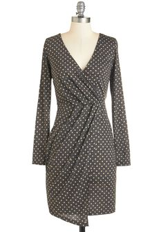 Confidence to the Chef Dress - Mid-length, Knit, Grey, Tan / Cream, Polka Dots, Work, Sheath, Long Sleeve, V Neck