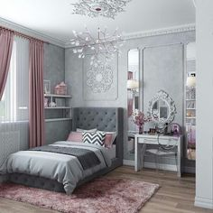 Teen Girl Bedrooms fabulous and dreamy living space - From modern to warm teen girl room decor. Saved at teen girl bedrooms themes shabby chic , image pin idea inspired on 20190206 Girls Bedroom Curtains, Bedroom Colors, Home Bedroom, Bedroom Decor, Girl Bedrooms, Decor Room, Grey Curtains, Bedroom Furniture, Grey Furniture