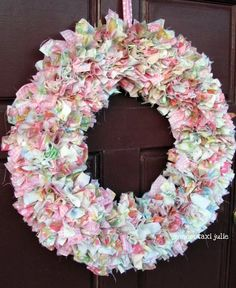 #baby shower rag wreath from vintage sheets