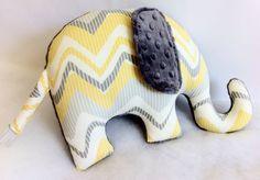 Elephant Pillow_Zoo Nursery_Yellow Grey Elephant by SewPookie