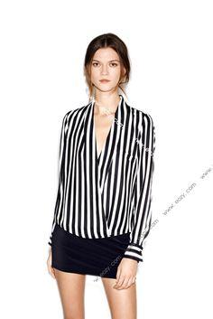 Long sleeve chiffon black white stripe lapel women t shirt tops blouse