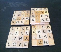 Scrabble Coasters Scrabble Tile Coaster Upcycled by CrassandSass Scrabble Pieces Crafts, Scrabble Tile Jewelry, Scrabble Tile Crafts, Scrabble Words, Recycled Jewelry, Recycled Art, Scrabble Coasters, Crafts For Kids, Diy Crafts