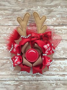 Christmas boutique hair bow  Reindeer Antlers by TheJMarieBoutique